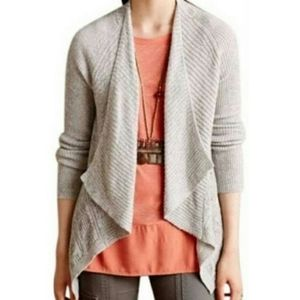 Anthro Moth Gray Waterfall Flyaway Cardigan Sz Sm